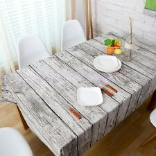 Vintage Natural Wood PrintCotton Tablecloth Home Party Banquet Dining Table Deco