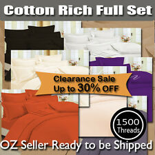 Double/Queen/King size 1500TC Cotton Rich Quilt Cover Set &Fitted Sheet