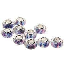 Lot 10Pcs Silver Crystal Glass Beads Lampwork Fit European Charms Bracelet