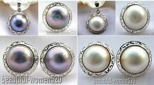 DM05 HUGE Genuine 20mm Mabe Pearl Sterling silver ring earring pendant SET