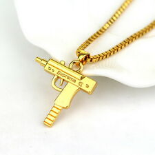 Top Quality Uzi Gun Gold Pendant Necklace Chain 18KT Gold Plated Hip Hop Bling P