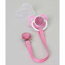 Gift Set Quilted Sparkly Pacifier with Matching Polka Dot Ribbon Clip