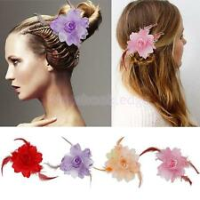 Ladies Bridal Feather Flower Hair Clip Brooch Pin Hair Pins Party Hair Accessory