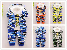 3PC Infant Baby Boys camouflage Outfits Hooded Coat+T-shirt+Pants sets Clothes