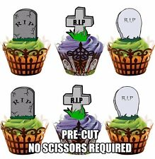 RIP Gravestones Fully Edible Cup Cake Toppers Halloween Party Decorations