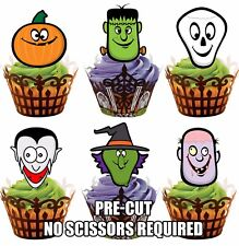 PRE-CUT Halloween Scary Faces Edible Cupcake Muffins Cookie Toppers Decorations