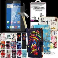 For ZTE Blade Phones  Flip Leather Wallet Case + Tempered Glass Screen Protector
