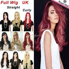 "UK Shipping 19""23"" Long Wig Full Wigs Smooth Bangs Women Ladies Natural Thick"