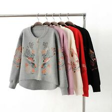 New Womens Premium Embroidered Zip Up Cardigan Knitted Coat Sweater Knitwear