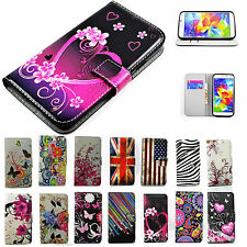 Folding Stand Wallet Leather Skin Case Cell Phone Flip Cover Stand For Samsung
