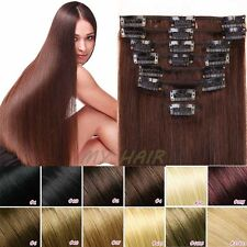 NICE Real Human Hair Clip In Remy Human Hair Extensions Full Head 60g 70g XL459