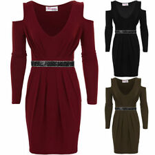 Ladies Cut Out Shoulder Long Sleeve Diamante V Neck Pleated Bodycon Dress