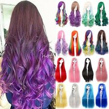 Silky Long Hair Anime Wig Real Heat Resistant Straight Curly Cosplay Wigs UK #P1