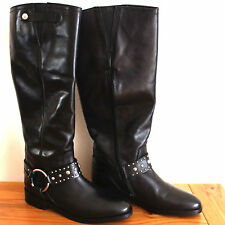 Bronx Flat Black Leather Knee High Buckle Detail Riding Bikers Boots RRP £135