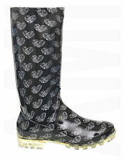 LADIES GIRLS BLACK WITH HEART PATTERN WELLIES SIZE 3 4 5 6 6.5 7 FESTIVAL P408