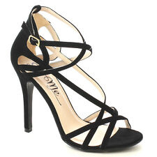 So Me FB13 Women's Criss Cross Strappy Buckle Stiletto Heel Dress Sandals