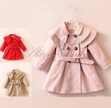 Girls Autumn Outerwear Double-Breasted Trench Coat Kids Belted Wind Jacket Dress