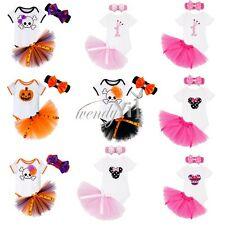 3PC Newborn Baby Girl Romper Tulle Skirt Headband Pumpkin Outfit Halloween CHEAP