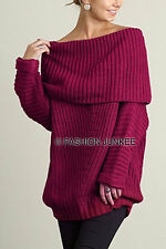MAGENTA FOLDOVER SWEATER Top Chunky Knit Off the Shoulder Boat Neck NEW S M L