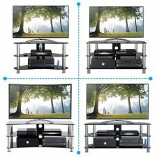 """TV Stand Black Glass Silver Leg Stands for Plasma LCD LED 3D 26"""" 32"""" 37"""" 55"""" 60"""""""