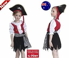Kid Girl Child Fancy Halloween Pirate Captain hook hat Party Costume Dress set