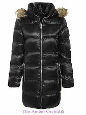 Brave Soul Womens Ladies Puffer Parka Fur Hooded Jacket Quilted Padded Coat