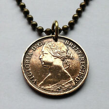 United Kingdom Great Britain 1 FARTHING Queen Victoria pendant necklace n000232
