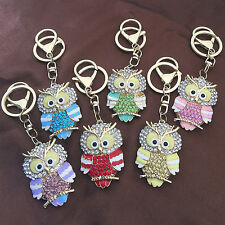 Owl Animal Enamel Crystal Charm Pendant Handbag Bag Purse Keychain Key Ring