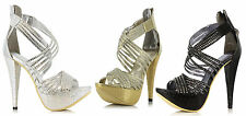 "ELLIE 532-MIA Women 5"" Mini Rhinestone Heel Strappy Peep Toe Platform Sandals"