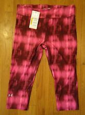 NWT UNDER ARMOUR ALPHA STRIPE CAPRIS COMPRESSION ANTI-ODOR PINK WOMENS LARGE