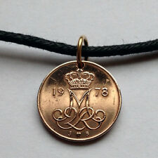 Denmark 5 ore coin pendant Danish necklace jewelry initial M Danes n000510