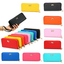 Women Lady Fashion PU Leather Wallet Pouch Clutches Bowknot 3D Purse Handbag