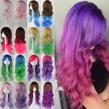 US Halloween Wigs Long Synthetic Hair Full Wigs With Bangs Purple Orange Pink SD