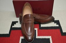Bally Scribe Hand Made in Switzerland Ayer Brown Calf Leather Penny Dress Loafer
