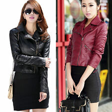 Vintage Womens Slim Fit Punk Rock Biker Motorcycle PU Leather Zip Up Jacket Coat