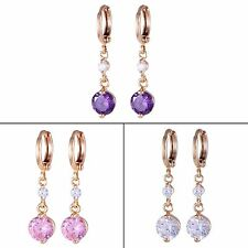 Wedding gift! 18k gold filled Round Purple&White Sapphire dangle hoop Earring