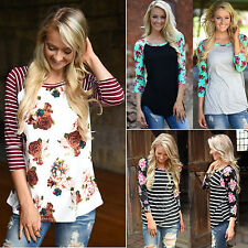 Oversize Womens Boho Floral Long Sleeve Tops Blouse Casual Loose T Shirt Tee New
