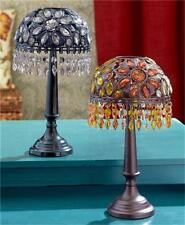 ROMANTIC BEADED TEA LIGHT CANDLE ACCENT TABLE LAMP CANDLEHOLDER BRONZE OR BLACK