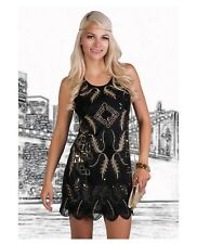 Women's 1920s Art Deco Flapper Great Gatsby Dress Sequins Black Gold Costume