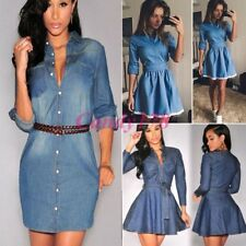 Noble Womens Casual Party Short Mini Dress Denim Jean Long Sleeve Shirt Dresses