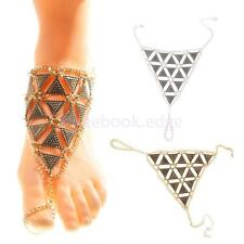 Silver/Gold Barefoot Sandal Beach Toe Ring Triangle Chain Anklet Ankle Bracelet