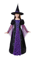 Childrens Kids Purple Witch Fancy Dress Costume Halloween Outfit Childs 4-10 Yrs