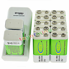 12x 9V BTY Green 300mAh Ni-Mh Rechargeable Battery + Dual Batteries Charger
