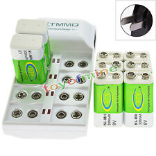8x 9V 6F22 PPS 300mAh Ni-Mh Rechargeable Battery + 8 Slot Batteries Charger