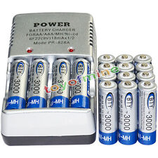 16 AA battery batteries Bulk Rechargeable NI-MH 3000mAh 1.2V BTY + Smart Charger