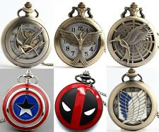 Steampunk Retro Vintage Bronze Quartz Pendant Chain Necklace Gift Pocket Watch