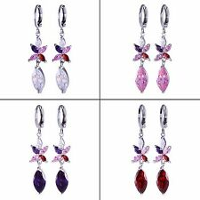 18k white gold filled Marquise Garnet Multi-color Sapphire dangle hoop Earrings
