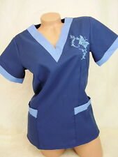 New Women Nursing Scrub Navy Ceil Blue Embroidery Butterfly Polyester Top