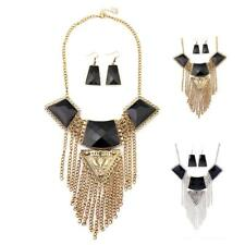 Bohemia Retro Geometric Rhinestone Multilayer Tassel Pendant Statement Necklace