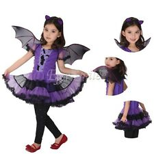 Girls Princess Bat Fancy Fairy Halloween Costume Outfit Party Dress up Clothes